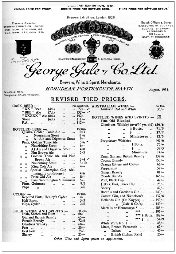 Gales Brewery Tied Prices