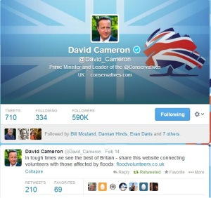 David Cameron Flood Tweet