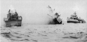 Ship hit by a mine