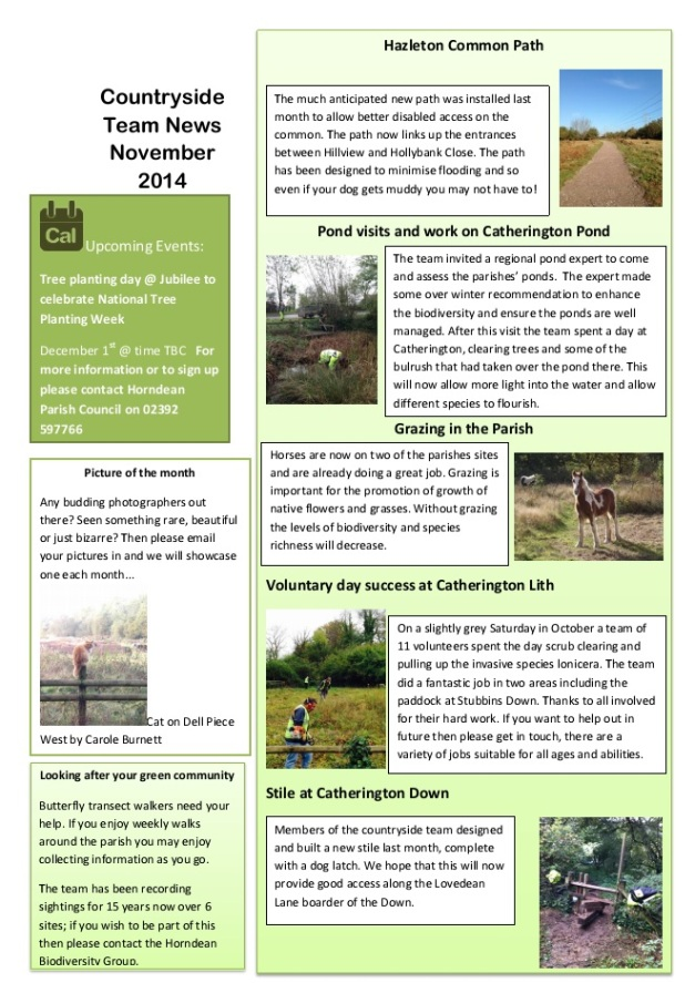 HPC Countryside Team Newsletter Nov 2014