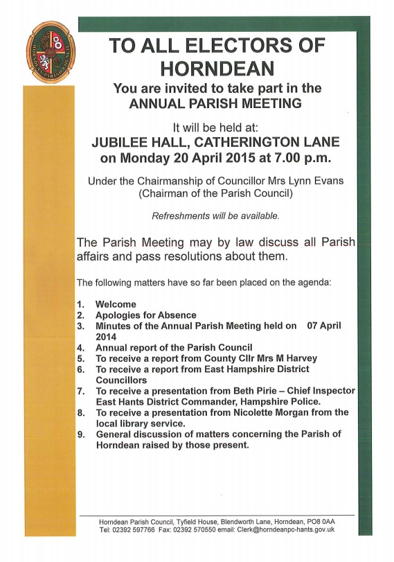 Horndean Parish Meeting 20 April 2015