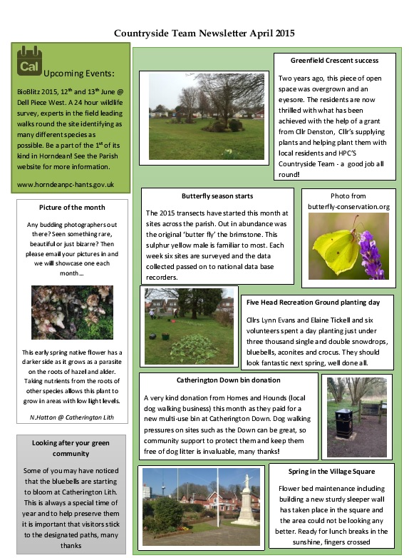 HPC Countryside Team Newsletter April 2015