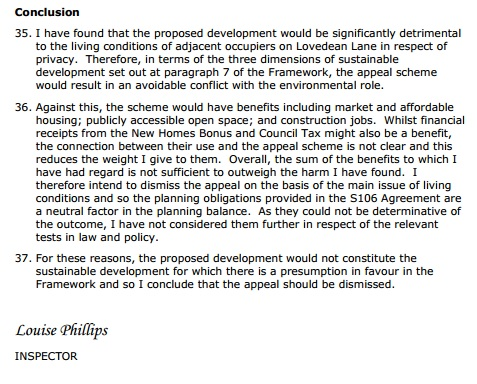Lovedean Lane Appeal Conclusions