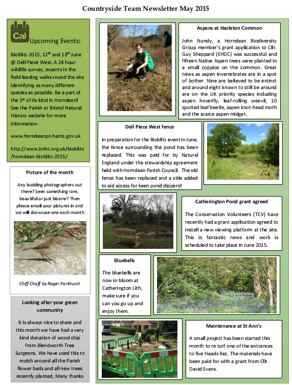 May 2015 countryside team newsletter