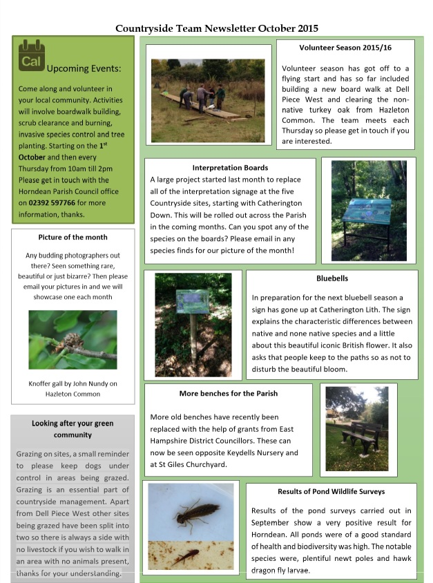HPC Countryside Team Newsletter October 2015