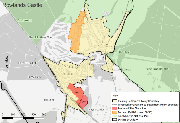 Local plan review 2017 - 2036 Rowlands Castle Map